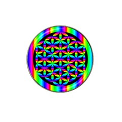 Rainbow Flower Of Life In Black Circle Hat Clip Ball Marker (10 Pack)