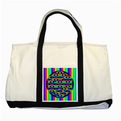 Rainbow Flower Of Life In Black Circle Two Tone Tote Bag
