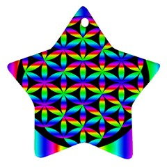 Rainbow Flower Of Life In Black Circle Star Ornament (two Sides)