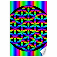 Rainbow Flower Of Life In Black Circle Canvas 24  X 36