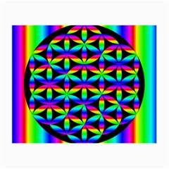 Rainbow Flower Of Life In Black Circle Small Glasses Cloth (2 Side) by Nexatart