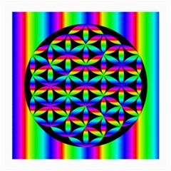 Rainbow Flower Of Life In Black Circle Medium Glasses Cloth (2 Side) by Nexatart