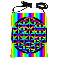 Rainbow Flower Of Life In Black Circle Shoulder Sling Bags by Nexatart