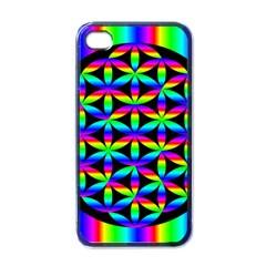 Rainbow Flower Of Life In Black Circle Apple Iphone 4 Case (black)