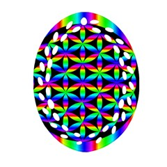 Rainbow Flower Of Life In Black Circle Oval Filigree Ornament (two Sides)