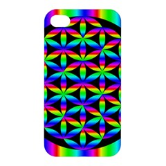 Rainbow Flower Of Life In Black Circle Apple Iphone 4/4s Premium Hardshell Case by Nexatart