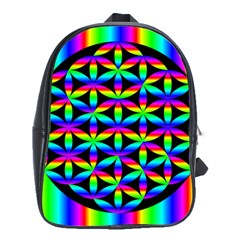 Rainbow Flower Of Life In Black Circle School Bags (xl)  by Nexatart