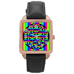 Rainbow Flower Of Life In Black Circle Rose Gold Leather Watch  by Nexatart