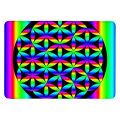 Rainbow Flower Of Life In Black Circle Samsung Galaxy Tab 8 9  P7300 Flip Case by Nexatart