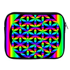 Rainbow Flower Of Life In Black Circle Apple Ipad 2/3/4 Zipper Cases