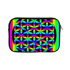 Rainbow Flower Of Life In Black Circle Apple Ipad Mini Zipper Cases