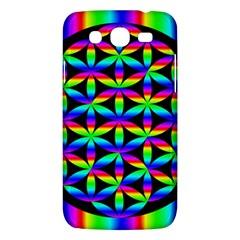 Rainbow Flower Of Life In Black Circle Samsung Galaxy Mega 5 8 I9152 Hardshell Case  by Nexatart