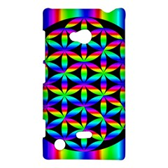 Rainbow Flower Of Life In Black Circle Nokia Lumia 720 by Nexatart