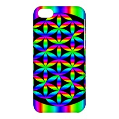 Rainbow Flower Of Life In Black Circle Apple Iphone 5c Hardshell Case by Nexatart