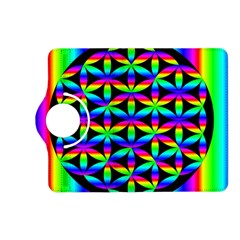 Rainbow Flower Of Life In Black Circle Kindle Fire Hd (2013) Flip 360 Case by Nexatart
