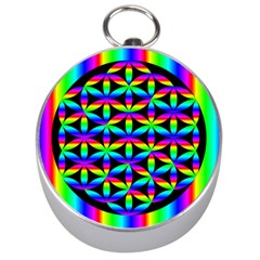 Rainbow Flower Of Life In Black Circle Silver Compasses by Nexatart