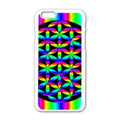 Rainbow Flower Of Life In Black Circle Apple Iphone 6/6s White Enamel Case
