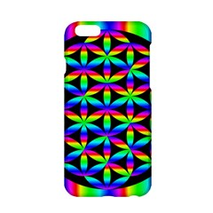 Rainbow Flower Of Life In Black Circle Apple Iphone 6/6s Hardshell Case by Nexatart