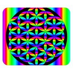 Rainbow Flower Of Life In Black Circle Double Sided Flano Blanket (small)  by Nexatart