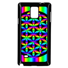 Rainbow Flower Of Life In Black Circle Samsung Galaxy Note 4 Case (black) by Nexatart
