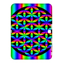 Rainbow Flower Of Life In Black Circle Samsung Galaxy Tab 4 (10 1 ) Hardshell Case