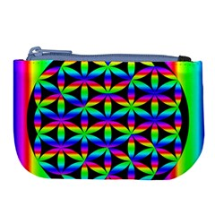Rainbow Flower Of Life In Black Circle Large Coin Purse
