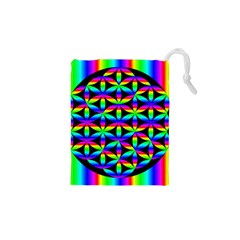 Rainbow Flower Of Life In Black Circle Drawstring Pouches (xs)  by Nexatart