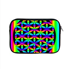 Rainbow Flower Of Life In Black Circle Apple Macbook Pro 15  Zipper Case by Nexatart
