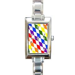 Rainbow Flag Bavaria Rectangle Italian Charm Watch