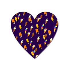 Seamless Ice Cream Pattern Heart Magnet by Nexatart