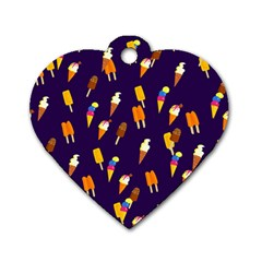 Seamless Ice Cream Pattern Dog Tag Heart (two Sides)