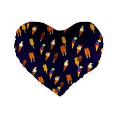 Seamless Ice Cream Pattern Standard 16  Premium Flano Heart Shape Cushions by Nexatart
