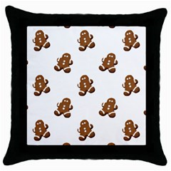 Gingerbread Seamless Pattern Throw Pillow Case (black)
