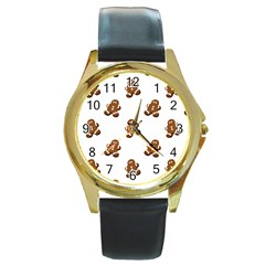 Gingerbread Seamless Pattern Round Gold Metal Watch