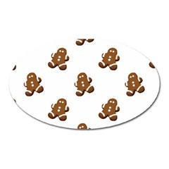 Gingerbread Seamless Pattern Oval Magnet by Nexatart
