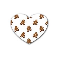 Gingerbread Seamless Pattern Heart Coaster (4 Pack)  by Nexatart