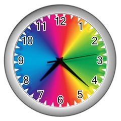 Rainbow Seal Re Imagined Wall Clocks (silver)  by Nexatart