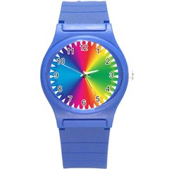 Rainbow Seal Re Imagined Round Plastic Sport Watch (s) by Nexatart