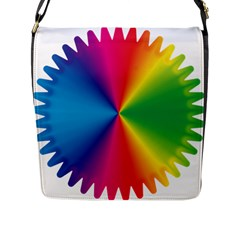 Rainbow Seal Re Imagined Flap Messenger Bag (l)  by Nexatart