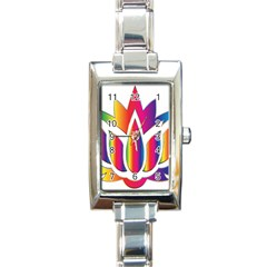 Rainbow Lotus Flower Silhouette Rectangle Italian Charm Watch
