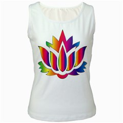 Rainbow Lotus Flower Silhouette Women s White Tank Top