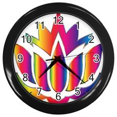 Rainbow Lotus Flower Silhouette Wall Clocks (black)