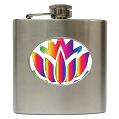 Rainbow Lotus Flower Silhouette Hip Flask (6 Oz)