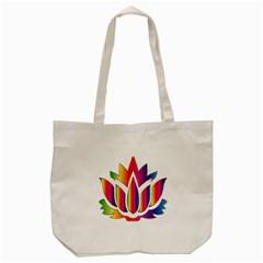 Rainbow Lotus Flower Silhouette Tote Bag (cream) by Nexatart