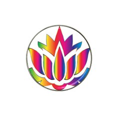 Rainbow Lotus Flower Silhouette Hat Clip Ball Marker (4 Pack)