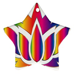 Rainbow Lotus Flower Silhouette Star Ornament (two Sides)