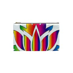 Rainbow Lotus Flower Silhouette Cosmetic Bag (small)  by Nexatart