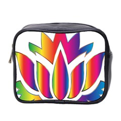 Rainbow Lotus Flower Silhouette Mini Toiletries Bag 2 Side by Nexatart