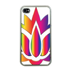 Rainbow Lotus Flower Silhouette Apple Iphone 4 Case (clear)