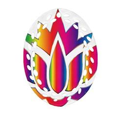 Rainbow Lotus Flower Silhouette Ornament (oval Filigree)
